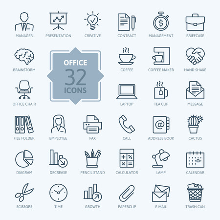 office manager: Outline web icon set - Office supplies.