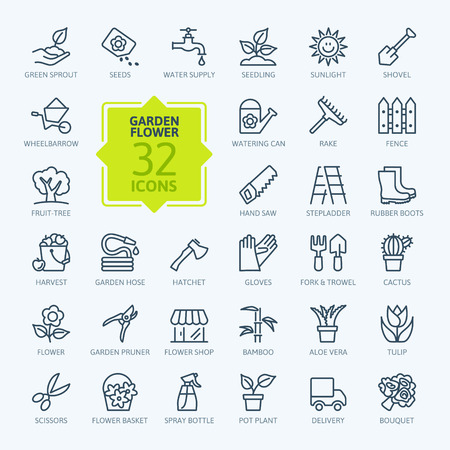 gardening tools: Outline icon collection - Flower and Gardening