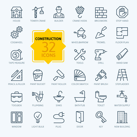 plumbing tools: Outline web icons set - construction, home repair tools
