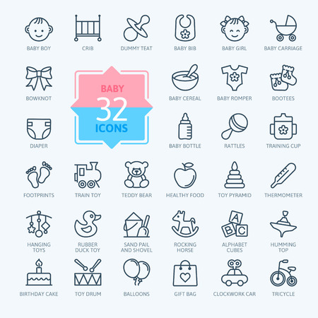 the newborn: Outline web icon set. Baby toys, feeding and care