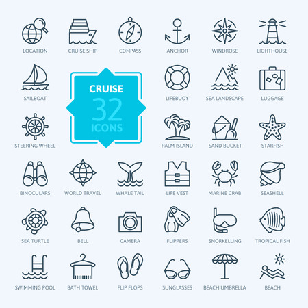 yacht: Outline web icon set - journey, vacation, cruise