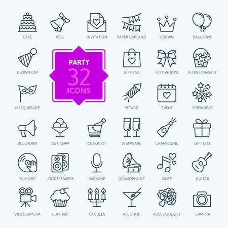 tarjeta postal: Esquema web icono conjunto - Fiesta, Cumpleaños, celebración