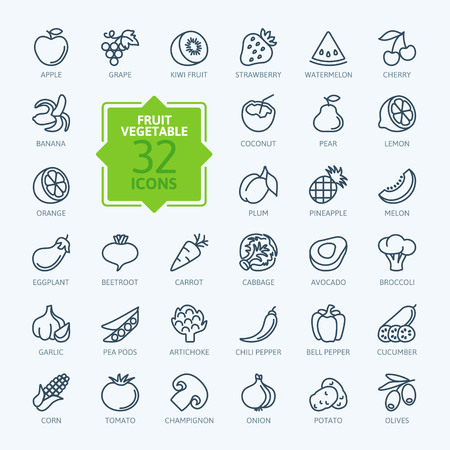 frutas tropicales: Esquema web icono conjunto - las frutas y hortalizas