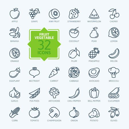 Esquema web icono conjunto - las frutas y hortalizas Foto de archivo - 44710591