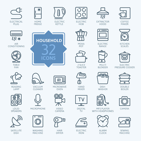 refrigerator with food: Outline icon collection - household appliances Illustration