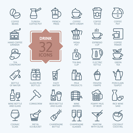 Outline web icon set - drinkt koffie, thee, alcohol Stock Illustratie