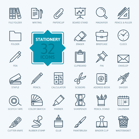 Outline web icon set - papeterie de bureau Banque d'images - 52871080