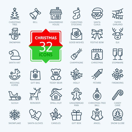 cane: Outline icon collection - Christmas set