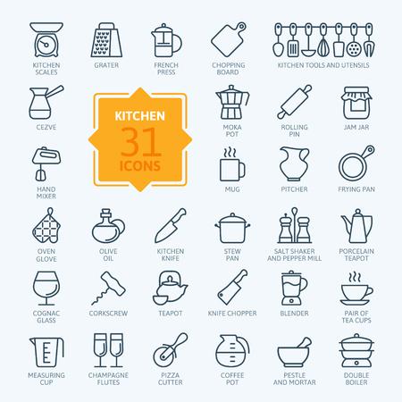 개요 아이콘 컬렉션 - 요리, 주방 도구 및 용품