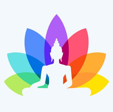 Silhouette di Buddha seduto su uno sfondo di fiore di loto
