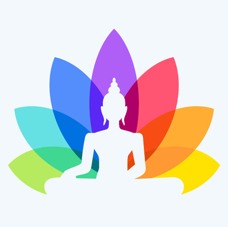 recovery position: Silhouette of Buddha sitting on a lotus flower background