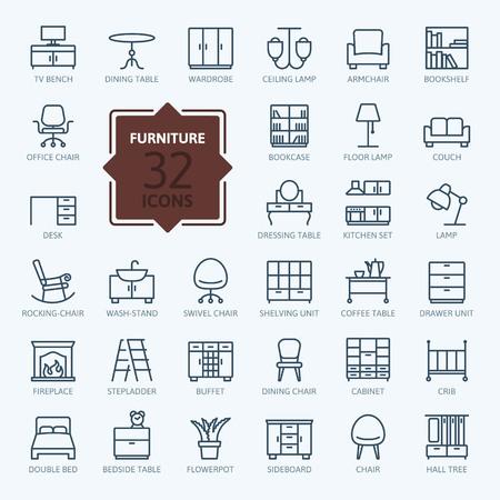 muebles de oficina: Esquema colección de iconos web - muebles