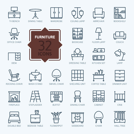 design office: Outline web icon collection - furniture
