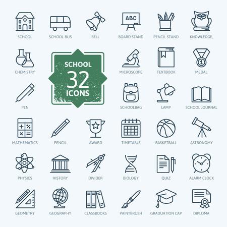 lapiz y papel: Esquema colección de iconos - La educación escolar Vectores