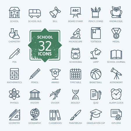 education: Outline icon collection - Enseignement scolaire