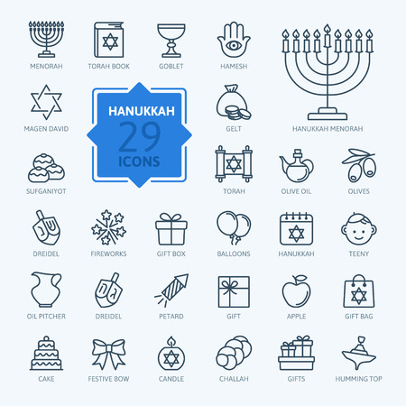 jewish star: Outline icon collection - Symbols Of Hanukkah