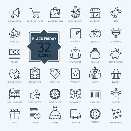 shopping baskets: Outline icon collection - Black Friday Big Sale