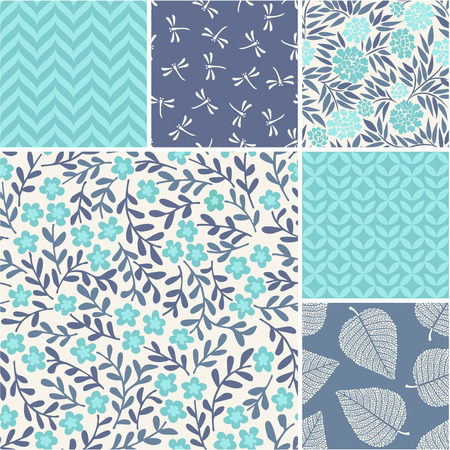 seamless patterns: Floral vector seamless patterns set Illustration