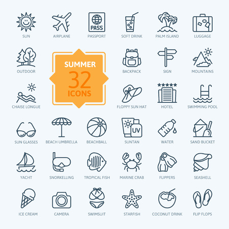chaise longue: Outline web icon set - summer, vacation, beach