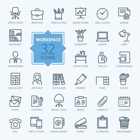 Outline web icon set - bureau espace de travail Banque d'images - 62105336
