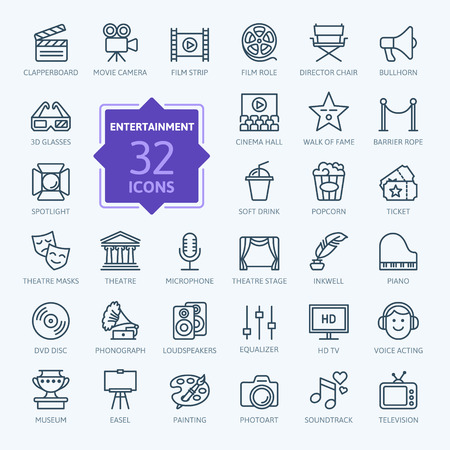 film role: Entertainment icon set - outline icon collection, vector