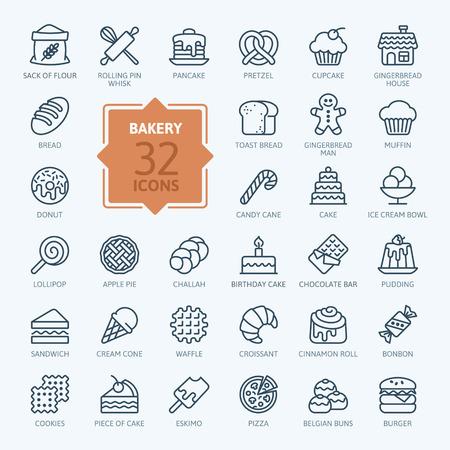 pictogramme: Bakery icon set - contour collection d'icônes, vecteur Illustration