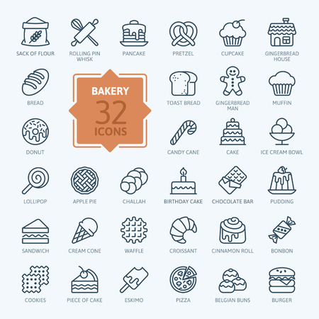 Bakery icon set - outline icon collection, vector