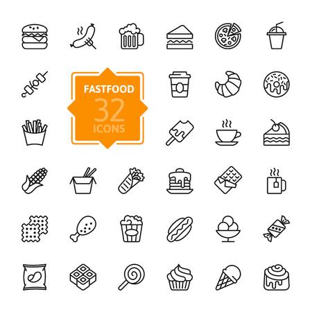 Fastfood - konspektu sieci web ikony ustaw, wektor, cienkich linii ikony kolekcji