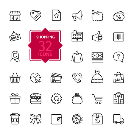 shop assistant: Shopping malls, retail - outline web icon collection, vector, thin line icons collection Illustration