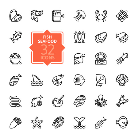 Fish and seafood - outline web icon collection, Vectores