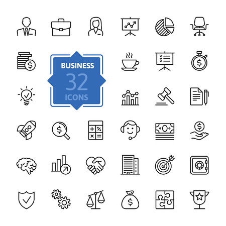 Business and finance web icon set - outline icon collection, vector Illusztráció