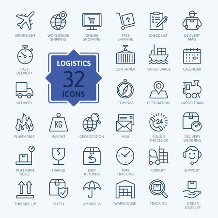 Logistics, delivery, transportation outline web icon.