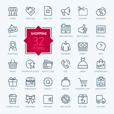 Shopping malls, retail - outline web icon collection, vector, thin line icons collection Ilustração