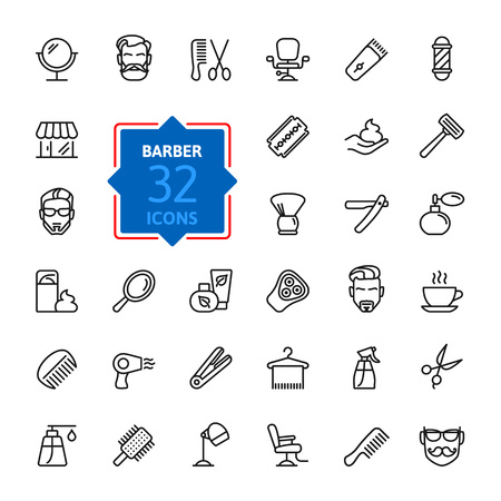 grooming: Barbershop - outline web icon set, vector, thin line icons collection