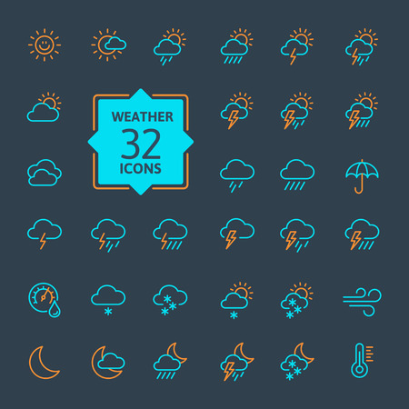 Weather forecast - outline web icon set. Çizim