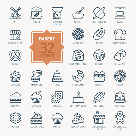 Bakery icon set - outline web icon set, vector, thin line icons collection