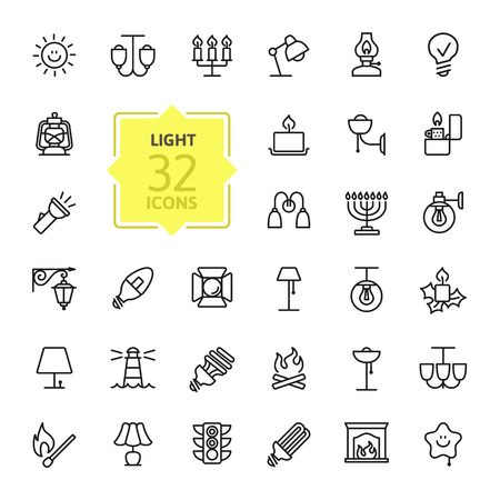 Lights web icon set - outline icon set, vector, thin line icons collection Illustration