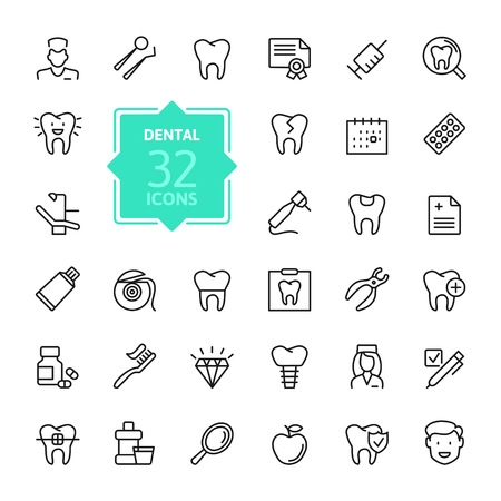 Dental - outline icon set, vector, simple thin line icons collection