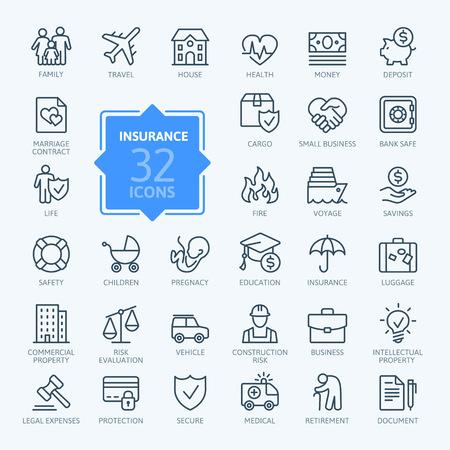 Assicurazione - insieme dell'icona del profilo, vettore, raccolta di icone semplice linea sottile