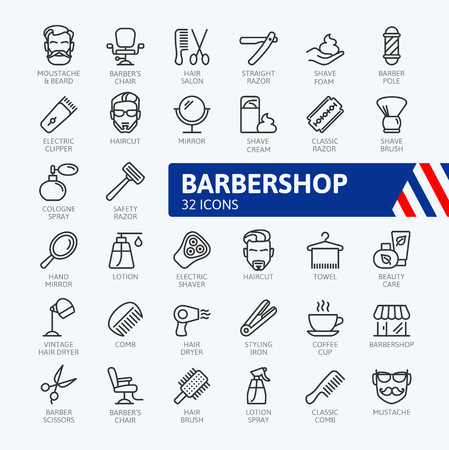 Barber shop elements - minimal thin line web icon set. Outline icons collection. Simple vector illustration.