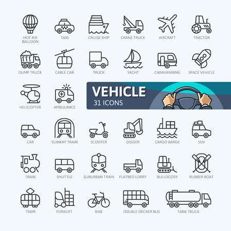 Transport, vehicle and delivery elements. Outline icons collection. Simple vector illustration.