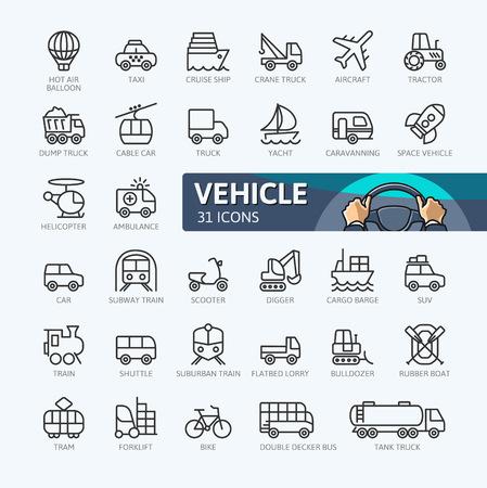 Transport, véhicule et éléments de livraison. Décrire la collection d'icônes. Illustration vectorielle simple. Vecteurs