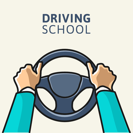 Driving school logo template. Steering wheel with hands. Simple vector illustration.