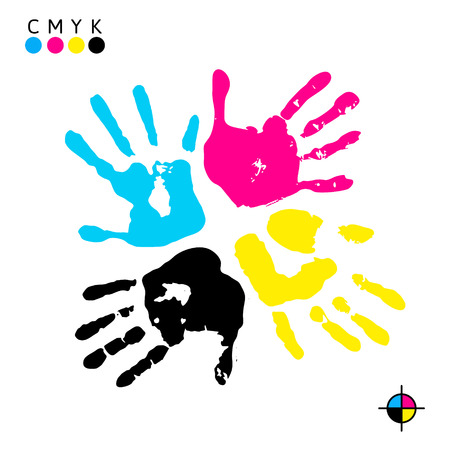 Hand print. Four color ink for printing. Hand prints of different colors - vector symbol CMYK Vectores