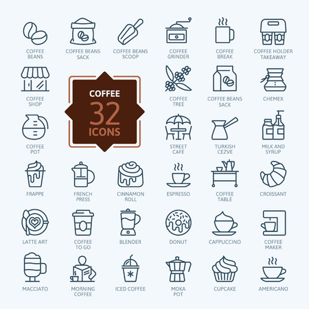 Coffee shop elements - minimal thin line web icon set. Outline icons collection. Simple vector illustration.  イラスト・ベクター素材