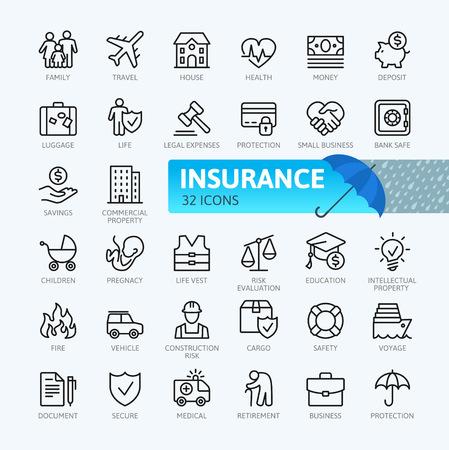 Elementy ubezpieczenia - zestaw ikon web minimalna cienka linia. Kolekcja ikon konspektu. Prosta ilustracja wektorowa.