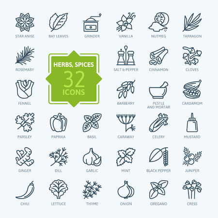 Spices, condiments and herbs - minimal thin line web icon set. Outline icons collection. Simple vector illustration. 스톡 콘텐츠 - 95195797
