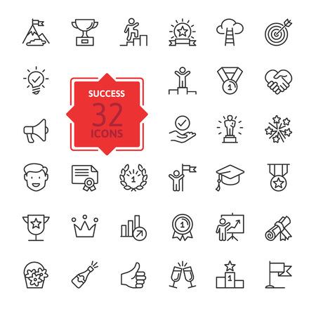 Sussess, premios, elementos de logro: conjunto de iconos web de línea delgada mínima. Colección de iconos de contorno. Ilustración vectorial simple