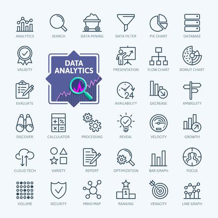 Analisi dei dati, statistiche, analisi - set di icone web minimo linea sottile. Collezione di icone di contorno. Illustrazione vettoriale semplice