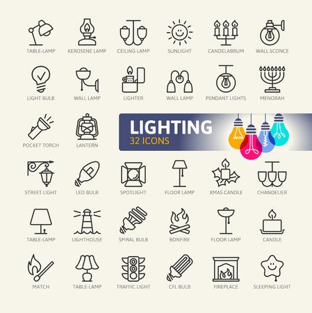 Lichten web icon set - minimale dunne lijn web icon set. Overzicht pictogrammen collectie. Eenvoudige vectorillustratie